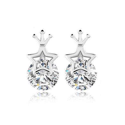 925 Sterling Silver Star Crown Stud Earrings with Cubic Zircon
