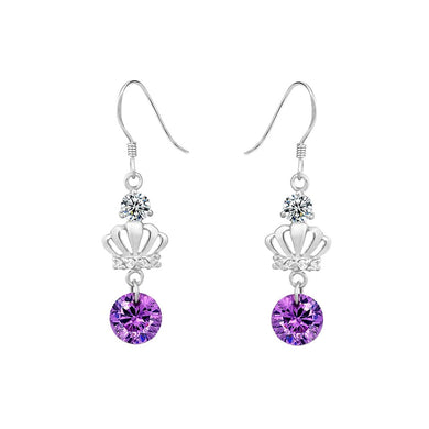925 Sterling Silver Crown Earrings with Purple Austrian Element Crystal