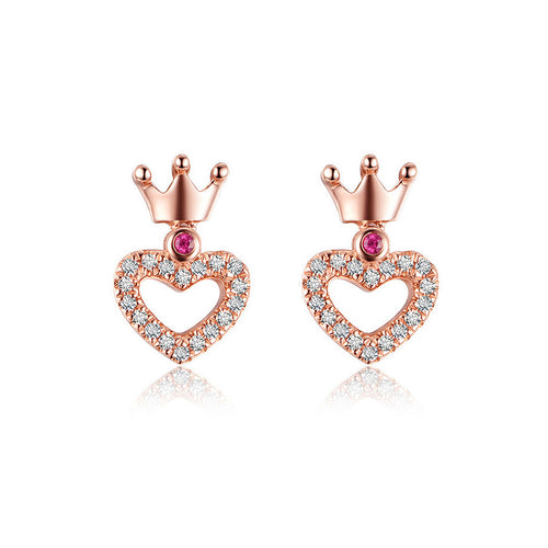 925 Sterling Silver Heart Crown Stud Earrings with Austrian Element Crystal