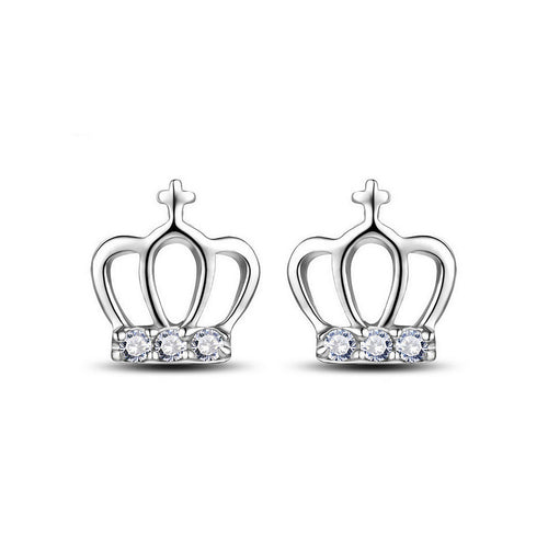 Exquisite Crown Stud Stud Earrings with Austrian Element Crystal