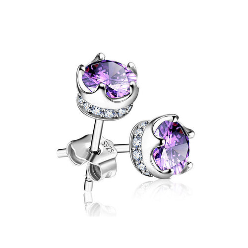925 Sterling Silver Crown Stud Earrings with Purple Austrian Element Crystal