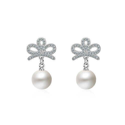 925 Sterling Silver Crown Earrings with Fashion Pearls