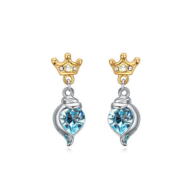 Fashion Crown Earrings with Blue Austrian Element Crystal