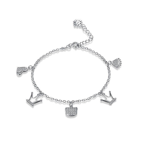 925 Sterling Silver Crown Bracelet with Austrian Element Crystal
