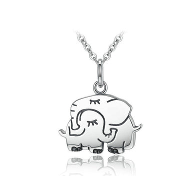 925 Sterling Silver Elephant Pendant with Necklace