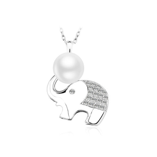 925 Sterling Silver Elephant Pendant with Fashion Pearl and Necklace