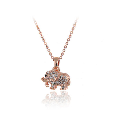 Cute Elephant Pendant with Austrian Element Crystal and Necklace
