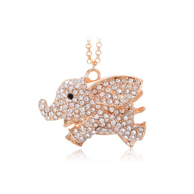 Fashion Elephant Pendant with Austrian Element Crystal and Necklace