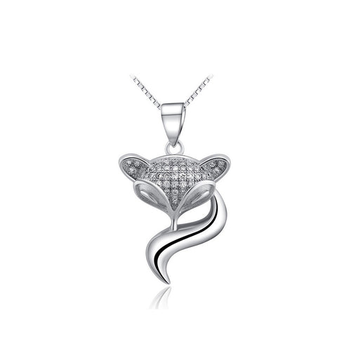 925 Sterling Silver Fox Pendant with Austrian Element Crystal and Necklace