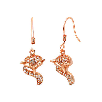 Plated Rose Gold Fox Earrings with Austrian Element Crystal
