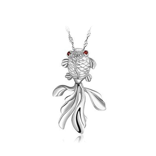 925 Sterling Silver Goldfish Pendant with Necklace