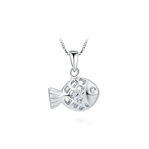 925 Sterling Silver Fish Pendant with Austrian Element Crystal and Necklace