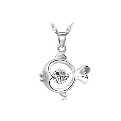 925 Sterling Silver Fish Pendant with Cubic Zircon and Necklace
