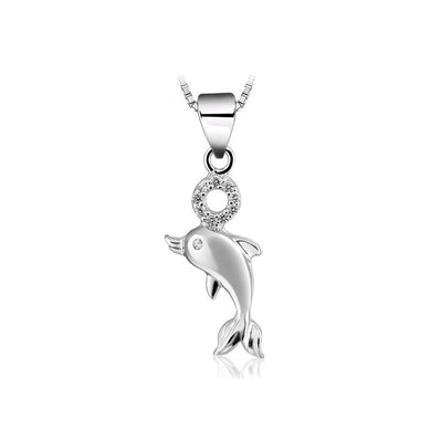 925 Sterling Silver Dolphin Pendant with Necklace