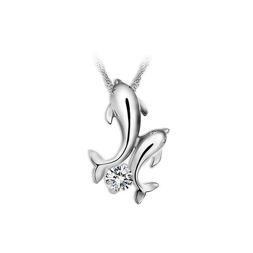 Cute Dolphin Pendant with White Cubic Zircon and Necklace