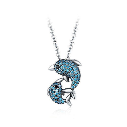925 Sterling Silver Dolphin Pendant with Austrian Element Crystal and Necklace