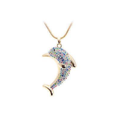 Fashion Dolphin Pendant with Austrian Element Crystal and Necklace