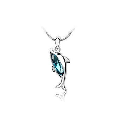 Cute Dolphin Pendant with Austrian Element Crystal and Necklace