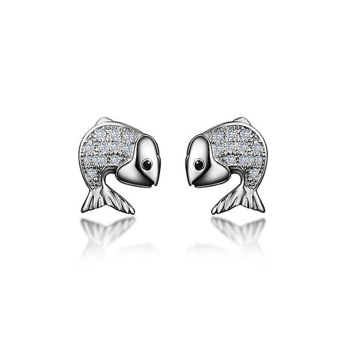 925 Sterling Silver Fish Stud Earrings with Austrian Element Crystal