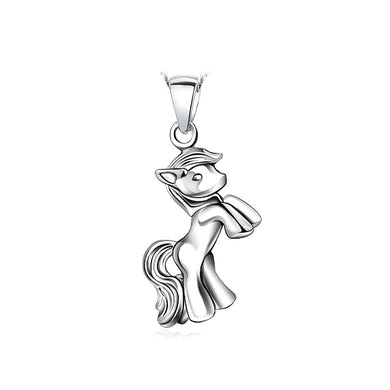 925 Sterling Silver Pony Pendant with Necklace