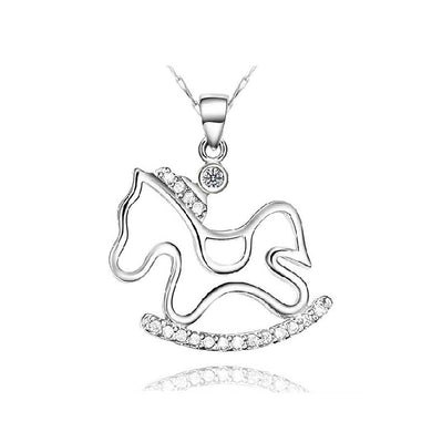 925 Sterling Silver Pony Pendant with Austrian Element Crystal and Necklace