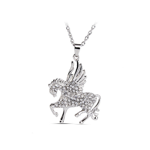 Shining Horse Pendant with Austrian Element Crystal and Necklace