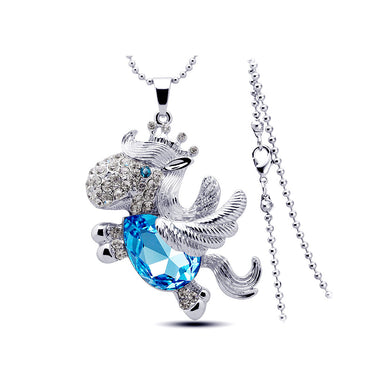 Cute Pony Pendant with Blue Austrian Element Crystal and Necklace