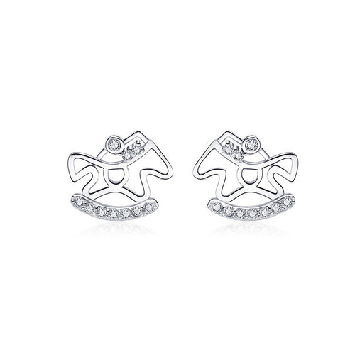 925 Sterling Silver Pony Stud Earrings with Austrian Element Crystal
