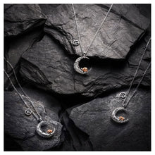 Load image into Gallery viewer, 925 Sterling Silver Rose on the Moon Pendant with horoscope necklace - Libra