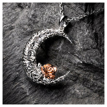 Load image into Gallery viewer, 925 Sterling Silver Rose on the Moon Pendant with horoscope necklace - Pisces