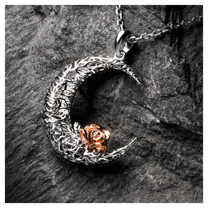 925 Sterling Silver Rose on the Moon Pendant with horoscope necklace - Pisces