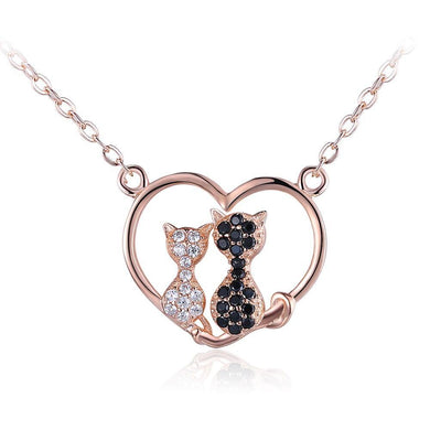 925 Sterling Silver Cat Heart Necklace with Austrian Element Crystal