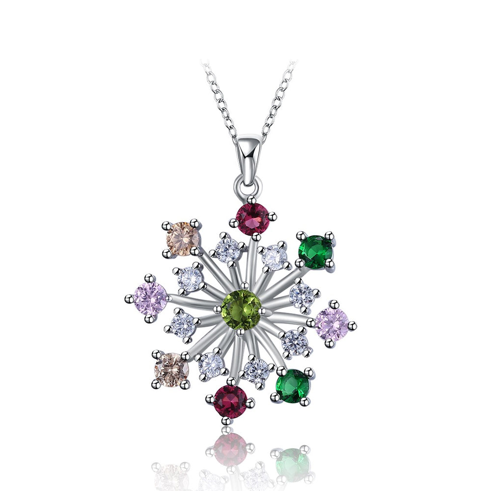925 Sterling Silver Snowflake Pendant with Colored Austrian Element Crystal and Necklace