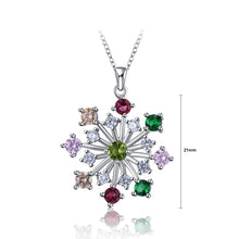 Load image into Gallery viewer, 925 Sterling Silver Snowflake Pendant with Colored Austrian Element Crystal and Necklace