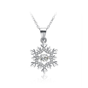 925 Sterling Silver Snowflake Pendant with White Austrian Element Crystal and Necklace