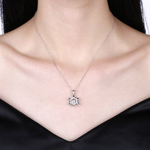 Load image into Gallery viewer, 925 Sterling Silver Snowflake Pendant with White Austrian Element Crystal and Necklace