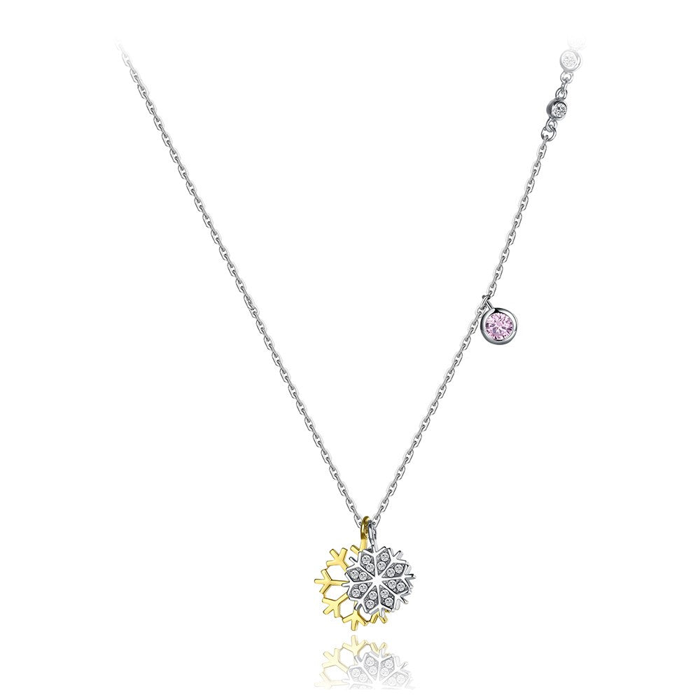 925 Sterling Silver Snowflake Double Pendant with Austrian Element Crystal and Necklace