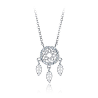 925 Sterling Silver Dream Catcher Necklace with White Austrian Element Crystal