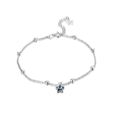 925 Sterling Silver Star Anklet with Blue Austrian Element Crystal