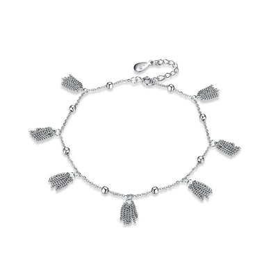 925 Sterling Silver Feather Anklet