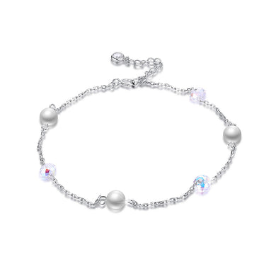 Simple 925 Sterling Silver Fashion Pearl Anklet