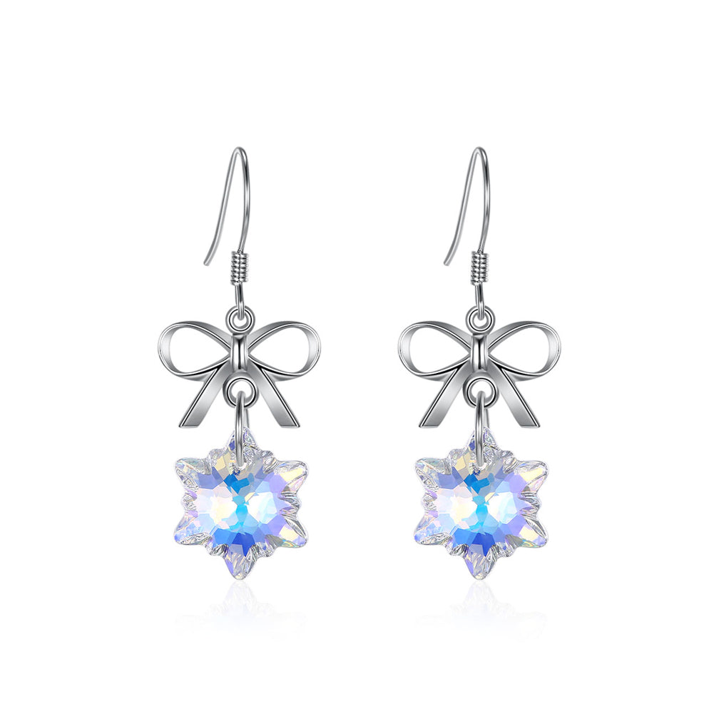 925 Sterling Silver Snowflake Earrings with White Austrian Element Crystal