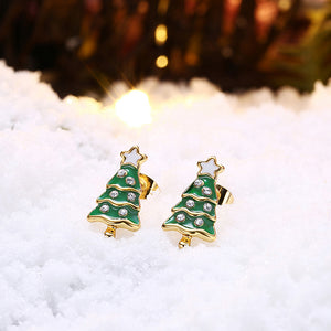 Fashion Christmas Tree Stud Earrings with Austrian Element Crystal