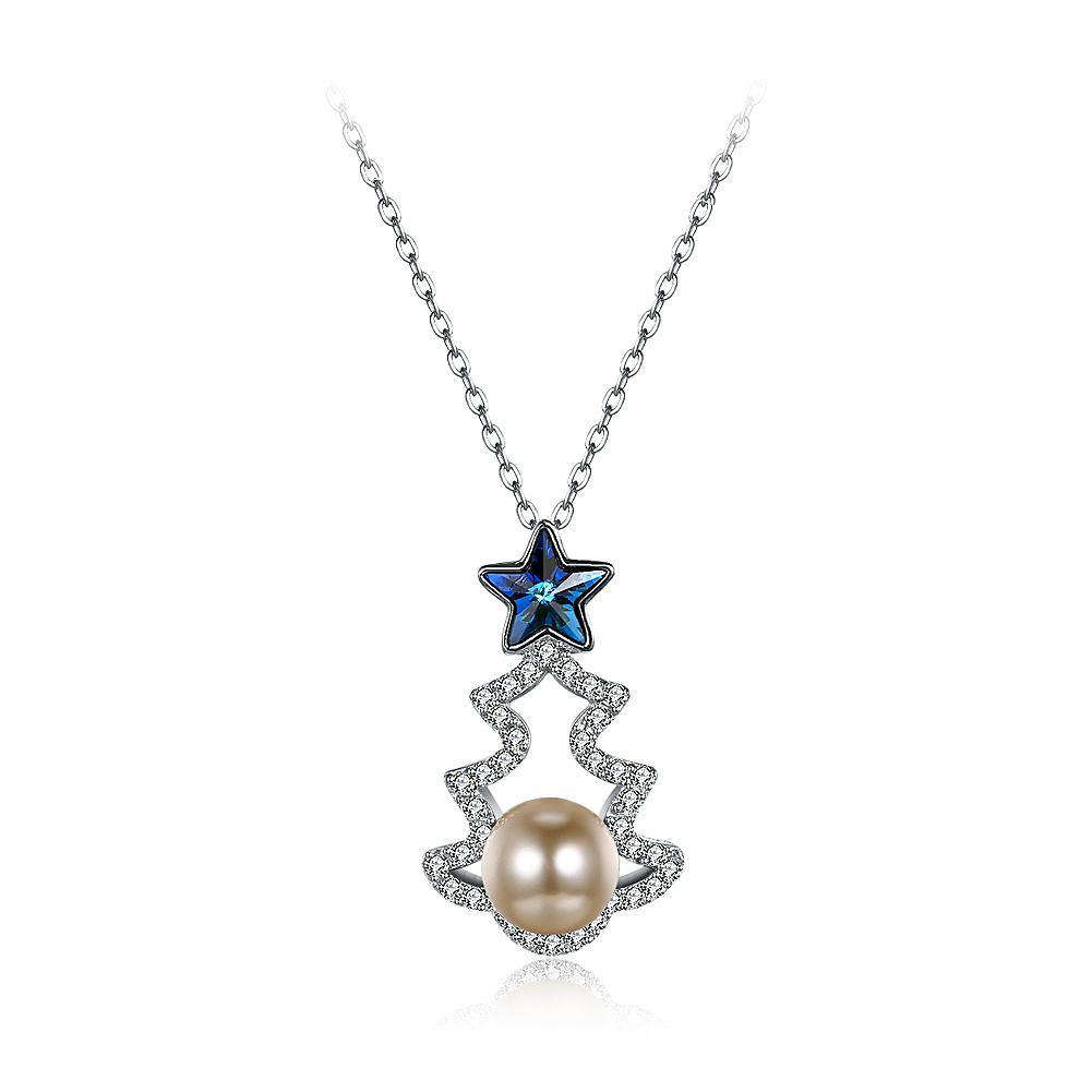 925 Sterling Silver Christmas Tree Pendant with Blue Austrian Element Crystal and Fashion Pearl and Necklace