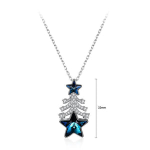 925 Sterling Silver Christmas Tree Pendant with Blue Austrian Element Crystal and Necklace