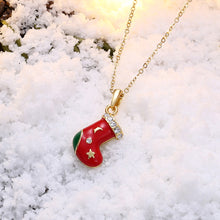 Load image into Gallery viewer, Christmas Socks Pendant with Austrian Element Crystal and Necklace