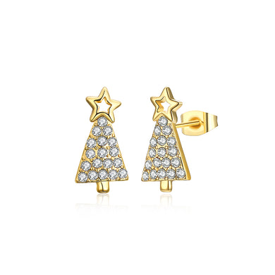 Delicate Christmas Tree Stud Earrings with Austrian Element Crystal