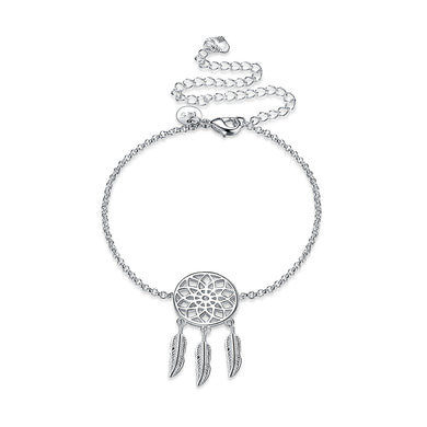 Fashion Hollow Round Feather Anklet