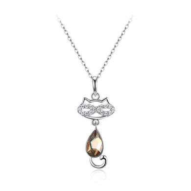 925 Sterling Silver Cat Pendant with Champagne Gold Austrian Element Crystal and Necklace