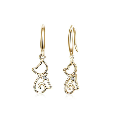 925 Sterling Silver Champagne Gold Cat Earrings with Austrian Element Crystal